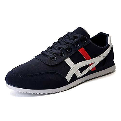 Men Casual Shoes Lightweight Plus Size Breathable Lace-up Male Sapatos masculinos Non-Slip Colorblock Canvas Shoes Deportiva C10-Blue 8.5 (Pic 4 Song)
