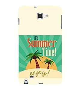 Its Summer Time Enjoy, Green, Sun & Tree, Beautiful Pattern, Printed Designer Back Case Cover for Samsung Galaxy Note 2 :: Samsung Galaxy Note Ii N7100
