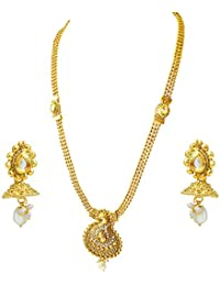 Suratdiamond Traditional Mango Motif White Stone And Gold Plated Necklace Earring Fashion Jewellery Set For Women...