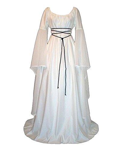 GladiolusA Vestito Medievale Da Donna Abito Lungo Retrò Costume Di Halloween Bianco XL