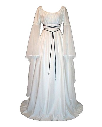 GladiolusA Damen Halloween Kostüm Kleid Mit Kapuze Lose Langarm Lang Maxi Kleid Mittelalter Kostüm Weiß ()