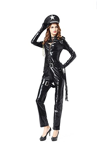ADFHGFJ Frauen sexy Catsuit schwarz Leder PU Polizistin Uniform Wetlook Bodysuit Clubwear Catwoman Kostüm Jumpsuit Dessous Leder Nightclub Body PU Cosplay Uniform Kostüme