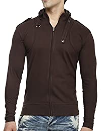 Tees Collection Men's Full Zip Buckle Neck Full Sleeve Brown Colour T-shirt