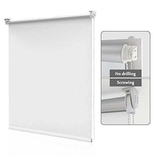 HOMEDEMO Estor Enrollable Opaco 80 x 170 cm Termico estores Aislamiento térmico Prevenir Ultravioleta Montaje Sencillo sin Taladrar Blanco