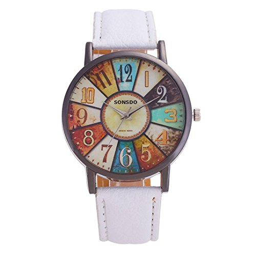 squarex Uhren für Damen Business Classic, die Armbanduhr Damen Unisex-Retro Casual Kunstleder Analog Quarz Armbanduhr, Damen, weiß, AS Show