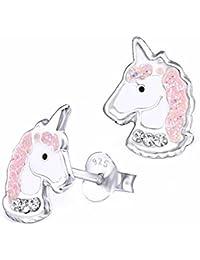 Pendientes infantiles, de GH; con cristales brillantes, con forma de unicornio, de plata de ley 925 auténtica, de colores rosa y blanco; fantástica idea para regalar