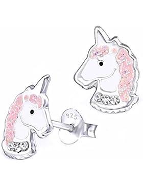 GH* Kristall Glitzer Einhorn Ohrstecker 925 Echt Silber Ohrringe Kinder Mädchen Pferd Pferde Rosa Weiß Top Geschenkidee