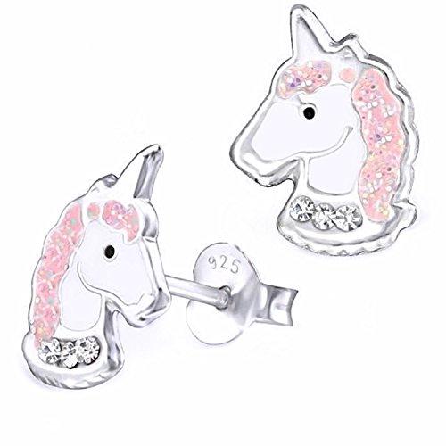 Silber Baby-mädchen (GH* Kristall Glitzer Einhorn Ohrstecker 925 Echt Silber Ohrringe Kinder Mädchen Pferd Pferde Rosa Weiß Top Geschenkidee)