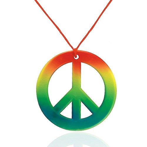Zeichen Regenbogen Brille Peace (German Trendseller® - Halskette Peace Anhänger ┃ Flower Power Hippie Kette ┃ Regenbogen Anhänger +)