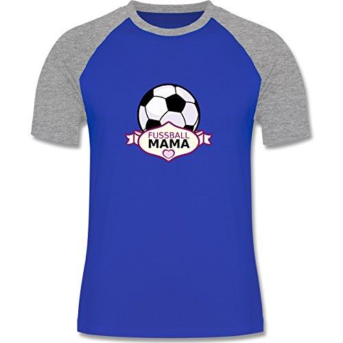 Fußball - Fußball Mama - zweifarbiges Baseballshirt für Männer Royalblau/Grau meliert