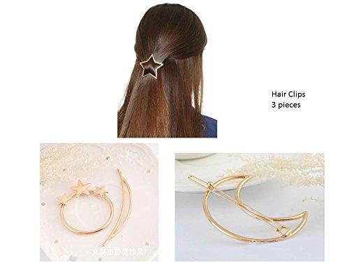 Fermagli per capelli, clip per capelli, a forma di luna, stella e cerchio con stelle, set da 3 pezzi, colore oro