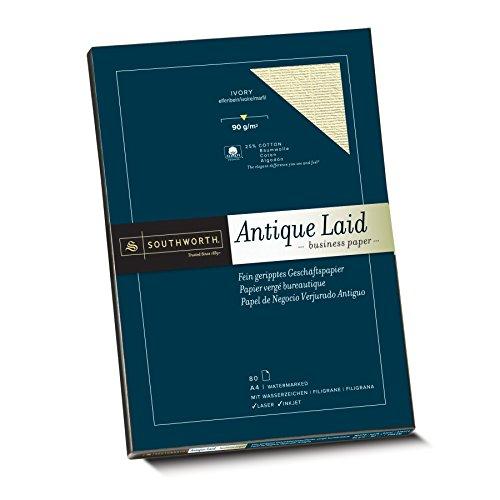 Southworth 90080 Fein geripptes Papier mit 25% Baumwolle, DIN A4, elfenbein, mit Wasserzeichen 90g/qm, 80 Blatt im Karton