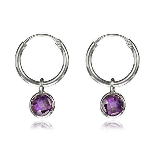 925 Sterling Silber Creolen Ohrring mit Amethyst Charm (Silber Charme London)