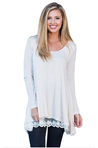 Unbekannt Erica Damen Plus Größe Swingy Layered Langarm Tunika Rundhalsausschnitt Mitte Länge T-Shirt, Weiß, m -