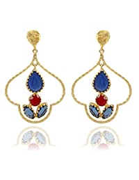 The Bohemian E2609-424 Red/Blue Ribbed Dome Alloy Gold Plated Dangle & Drop Earring For Women