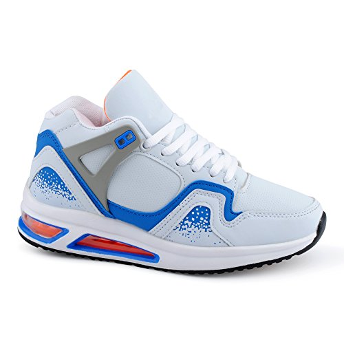 Herren Damen Sportschuhe High Top Sneaker Mehrfarbig Basketball Freizeit Unisex Schuhe Weiss/Blau-W
