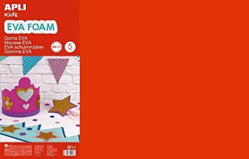 APLI Kids - Bolsa goma EVA rojo, 400x600x2mm 5 hojas