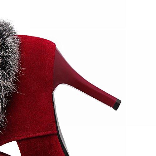 Misssasa Femme Chaussures À Talons Hauts Elégant Et Vintage Rouge