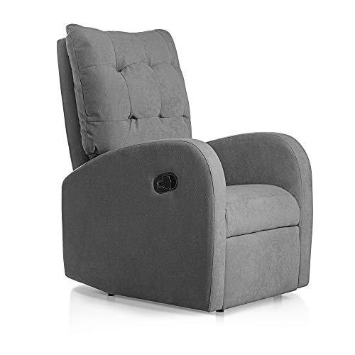 SuenosZzz - Sillon Relax reclinable Soft Sillón tapizado Tela Color Gris | Sillon reclinable butaca Relax | Sillon orejero Individual...