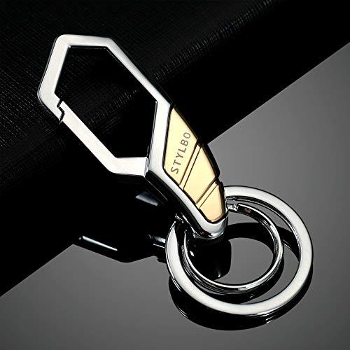 Doppel Taille Jean (daweiwei Männer Taille Keychain Metall Einfache Zink-Legierung Kreative Persönlichkeit Paar Anhänger Weibliche Autoschlüssel Kette Doppel Kreis H)
