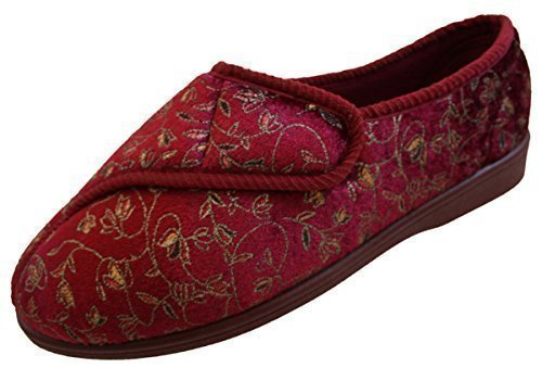ladies-red-touch-fastening-machine-washable-wide-slippers-uk-size-7