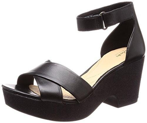 Clarks Maritsa Ruth, Sandali con Cinturino alla Caviglia Donna, Nero (Black Leather), 37.5 EU