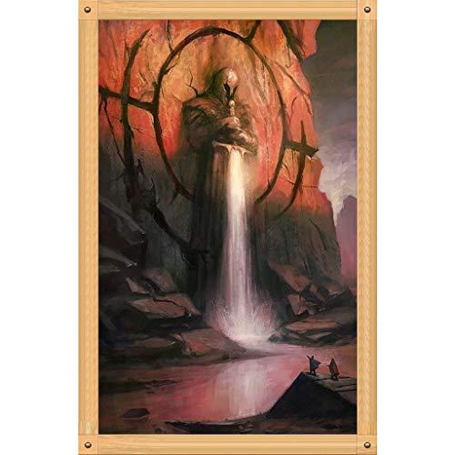 Y56(TM) DIY Stickerei Gemälde Strass eingefügt Diamant Malerei Kreuzstich, Grim Reaper, Knochen, Sichel, Schwert, 30X40cm