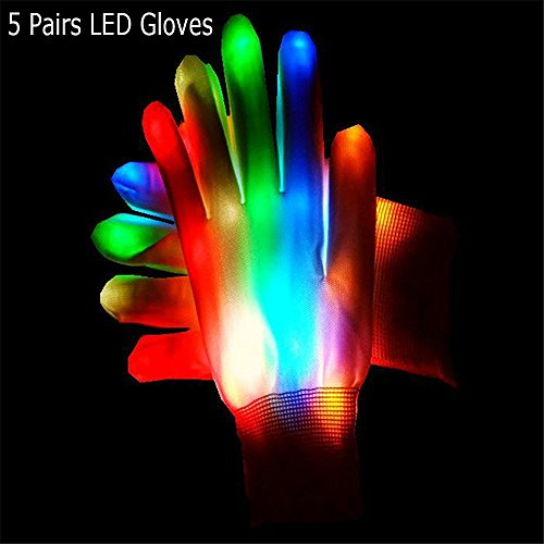Topfire Light Up LED Skeleton Hand Gloves, MultiColor LED Glove for Clubs, Raves, Festivals, Halloween, Bonfire Night, Party, Games (5 Pair of Led Gloves)