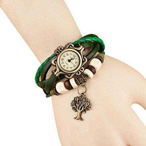 Charm Leder Armbanduhr Armband mingfa. Y MULTILAYER Weave Fortune Baum Wrap Armband Quarz-Uhren für Lady Frau Length Of Watch: 200 mm grün