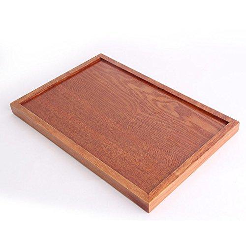 à thé de style japonais en bois Lacquerware à thé rectangulaire Plateau à fruits en bois plaque rectangulaire, Bois dense, marron foncé, 30*20CM