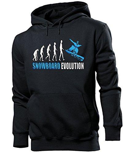 love-all-my-shirts Snowboard Evolution 2047 Wintersport Männer Herren Hoodie Pulli Kapuzen Pullover Kapuzenpullover Sportbekleidung Sport Schwarz aufdruck Blau S