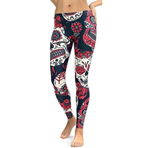 Yoga Hosen Damen, DoraMe Frauen Schädelkopf Print Yoga Leggings Hohe Taille Gym Hosen Workout Kleidung (XL, Rot) (Rot-yoga-hosen)