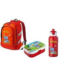Preisvergleich für Mein Zwergenland Set 3 Kinderrucksack Bicolor, Brotdose Mepal mit Bento Box und Gabel und Pop-up Flasche, 3-teilig