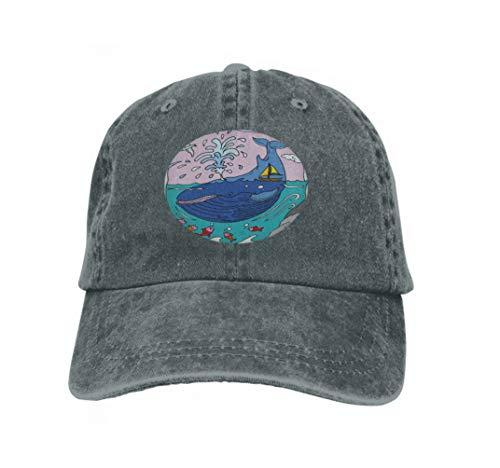 Unisex Trucker Hat Cap Cotton Adjustable Baseball Dad Hat Whale Nature Animal Whale Spray Fish Carbon -