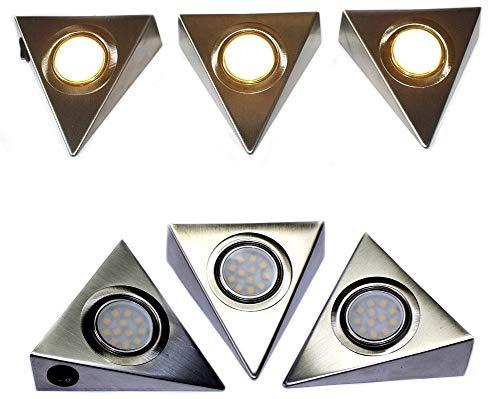 Komerci CL12D5050-CT LED-Unterbau-Set Prisma 12W 3 LED-Strahler warmweiß je 4W, Netzteil Kabel Schalter - Prisma Lampe