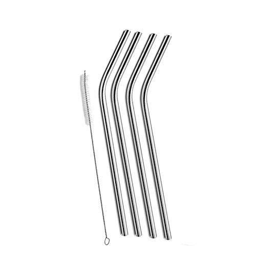 ZHENWOFC 4 Stück Edelstahl Bent Trinkhalm für Yeti 20 Unzen Tumbler mit 1 Stück Reinigungsreinigungsbürste Hardware-Ersatzteile