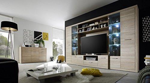 High Wohnwand Anbauwand Wohnzimmerset Eiche Sonoma inkl Beleuchtung - 3