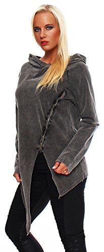 Trendige Damen Longshirt, Sweatshirt im Vintagestyle mit Reißverschluß, Oversize Look Jacke mit Kapuze Schwarz-Lang