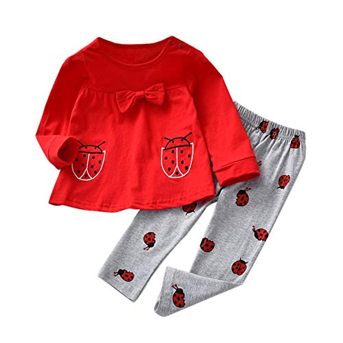Baby-Mädchen-nettes Marienkäfer-Gedrucktes Ausstattungs-langes Hülsen-Hemd-Spitze und Hose 2 (2 Stück Marienkäfer Kostüm)