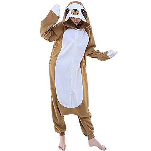 ex Onesie Pyjamas Overall Einteiler/Pyjama Schlafanzug Für Erwachsene(Braun faultiere, M(Fit Höhe:159cm-168cm/62