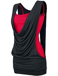 Effet 2 en 1 Open Top Femme noir/rouge