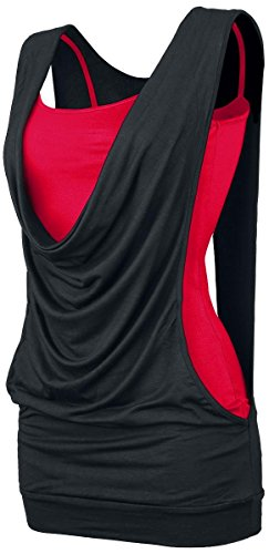 Forplay Open Double Layer Top donna nero/rosso S