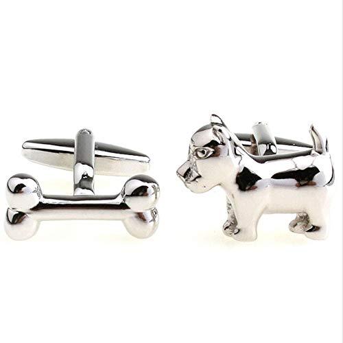 WYLCDGEOO Manschettenknöpfe Farbe Silber Hundeknochen Geschenke Manschettenknöpfe Herren...