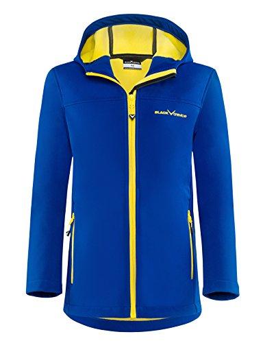 Black crevice - giacca in softshell, da bambino, bambini, softshelljacke, blu/giallo, 128