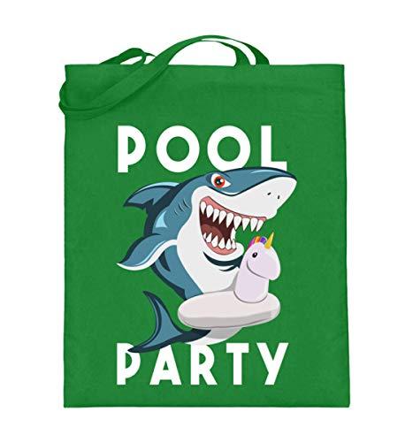 Lustiges Swimming Pool Party Einhorn Luftmatratze Ring Hai Shark Sommer Urlaub T-Shirt - Jutebeutel (mit langen Henkeln)