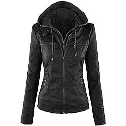 Minetom Mujer Invierno Cremallera Jackets Chaquetas Deportiva Cuero Moto Cazadoras Imitacion Piel Biker Abrigos Con Capucha Negro ES 34