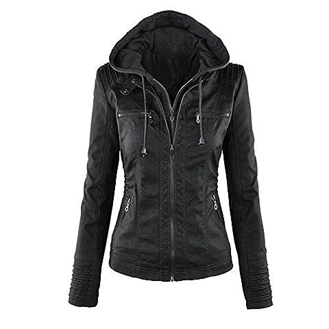Minetom Femme Fille Mode Bomber Blousons En Simili Cuir Fermeture Éclair Motard Hooded Tops Manteau à Capuche Court Moto Veste Jacket Noir FR 40