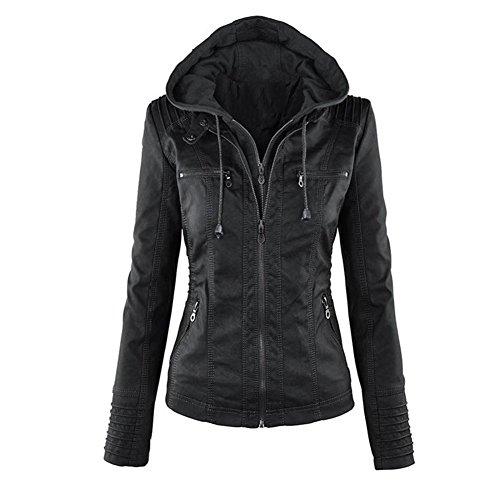 Minetom Mujer Invierno Cremallera Jackets Chaquetas Deportiva Cuero Moto Cazadoras Imitacion Piel Biker Abrigos Con Capucha Negro ES 40
