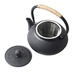 Idea Regalo - HwaGui-Teiera Giapponese Ghisa con Infusore per tè Sfuso o Bustina di tè, Teiera Tetsubin in Ghisa 800ml (4 Tazza)