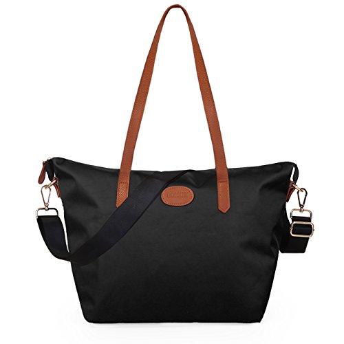 Strand Tasche Tote Handtasche (ECOSUSI Shopper Nylon Tote Handtasche Schulter Tasche Langer Griff 29 x 18 x 28cm Schwarz)